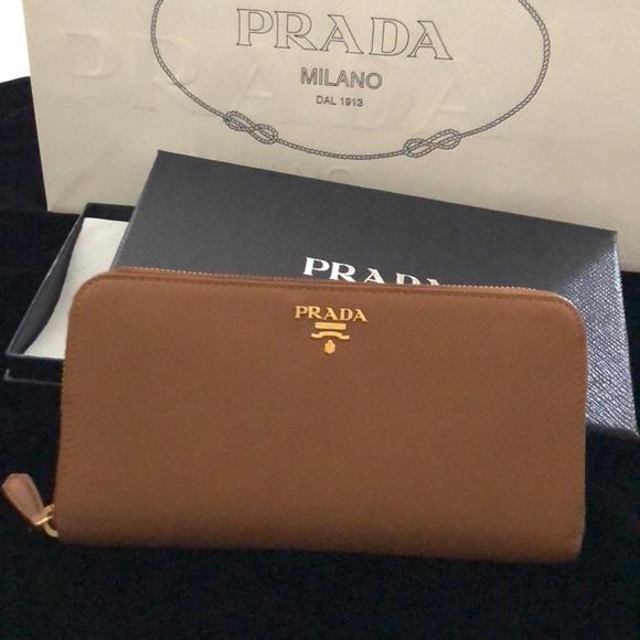 7f11080e5af0 Prada Bags | Saffiano Zip Around Wallet In Caramel | Poshmark
